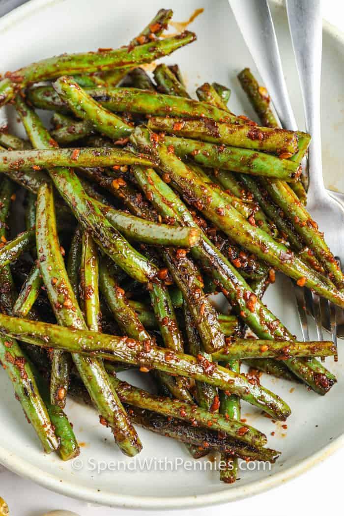top view of Szechuan Green Beans