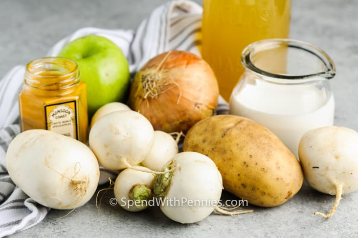 ingredients to make Turnip Soup on a table