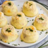 instant pot egg bites on a white plate with chopped chives