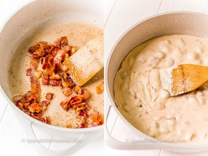 process of adding bacon to sauce to make Farfalle with Bacon