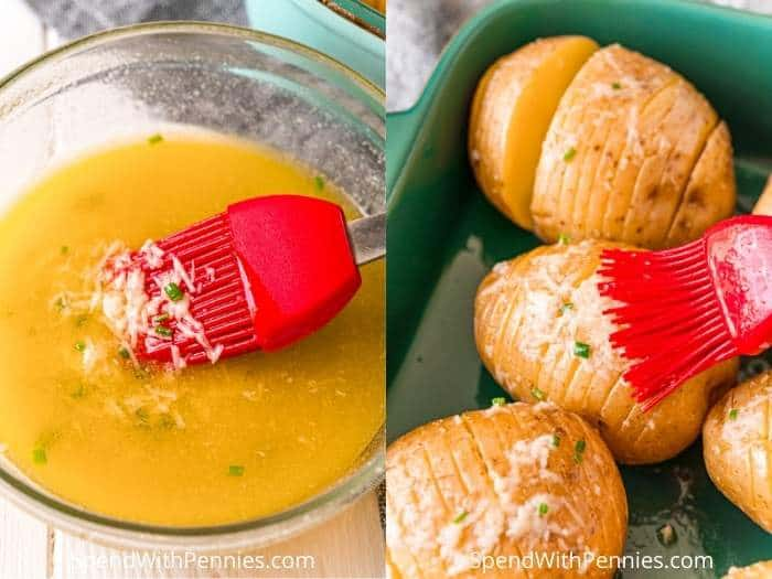 process of spreading butter mixture on potatoes to make Hasselback Potatoes