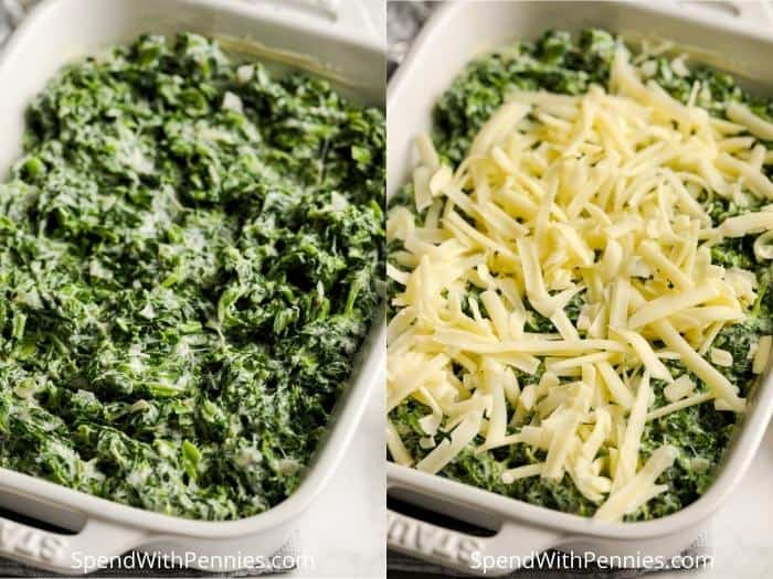 process of adding cheese to make Spinach Gratin