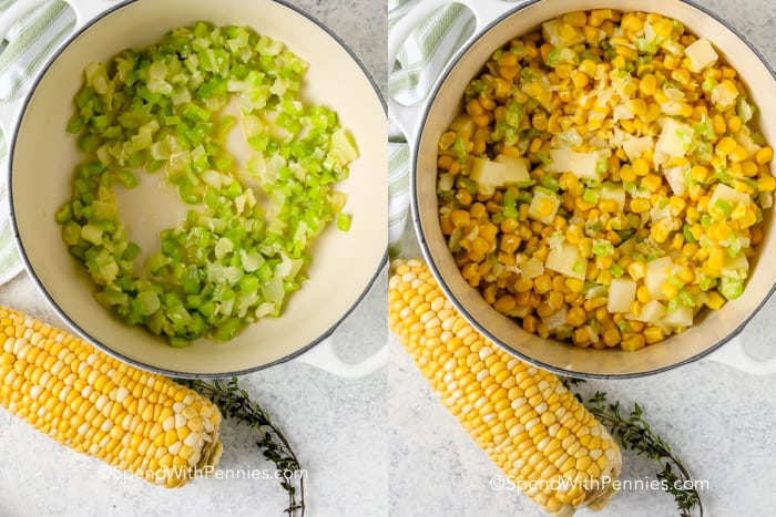 Side by side image of diced celery in a bowl with a side of corn on the cob and an image of corn kernels, diced potatoes, diced celery, chopped onions in a pot with a side of corn on the cob
