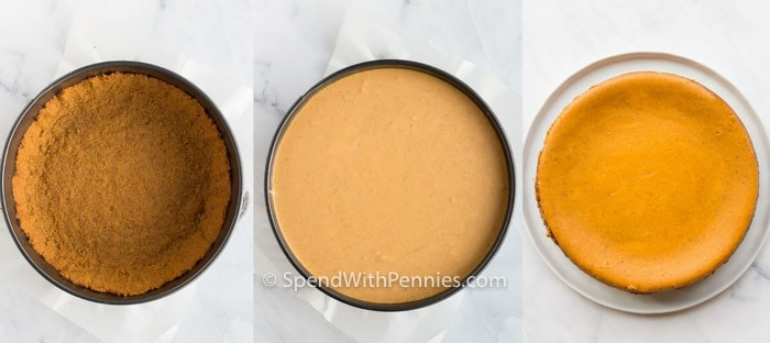 process of making crust and adding filling to make Pumpkin Cheesecake