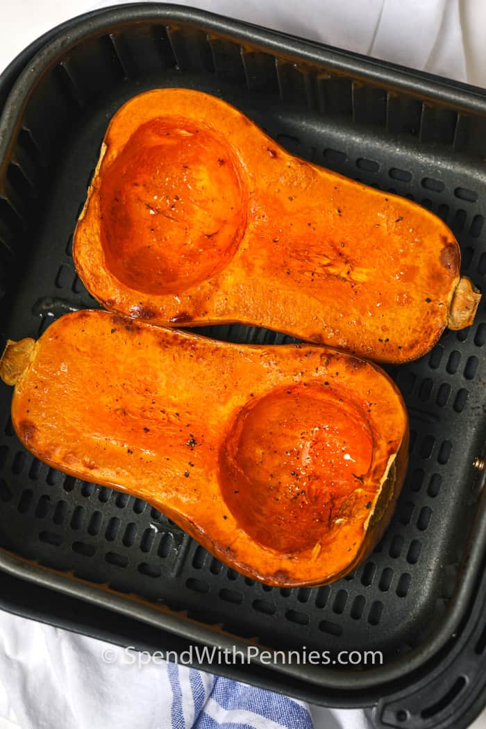 Air Fryer Butternut Squash in the air fryer after cooking