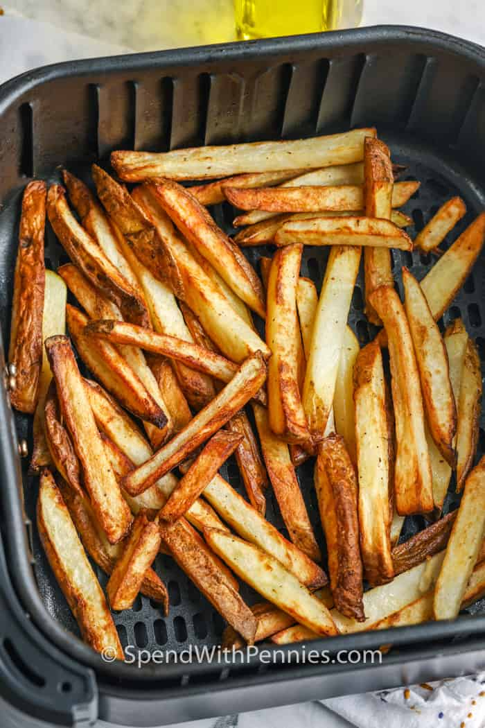Air Fryer French Fries in the air fryer after cooking