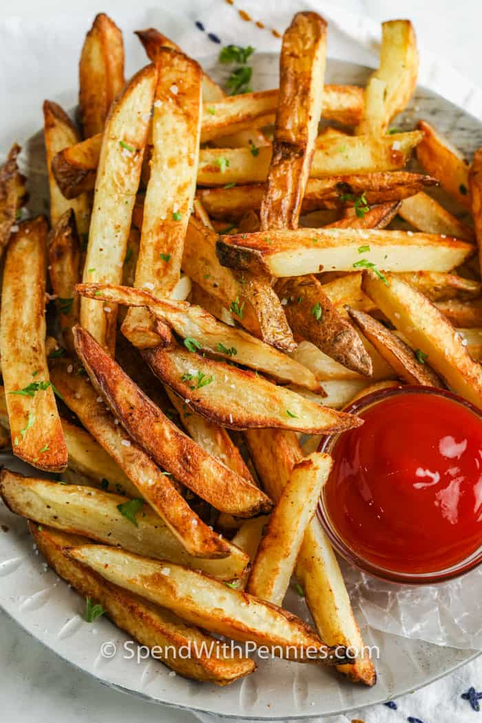 plated Air Fryer French Fries with ketchup