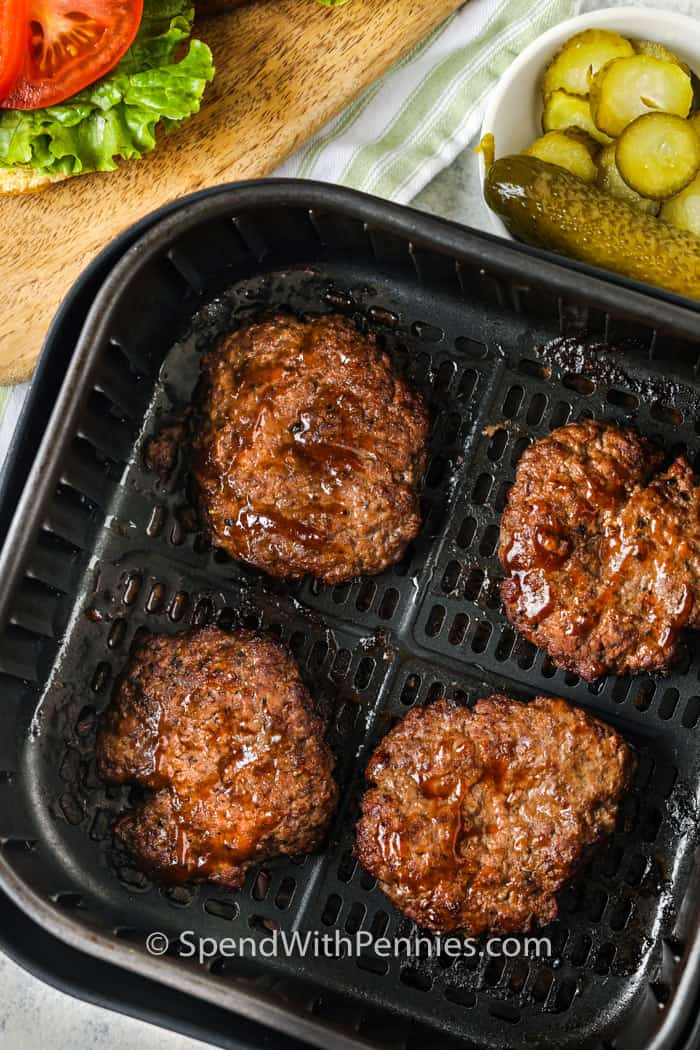 cooked Air Fryer Hamburgers in the air fryer