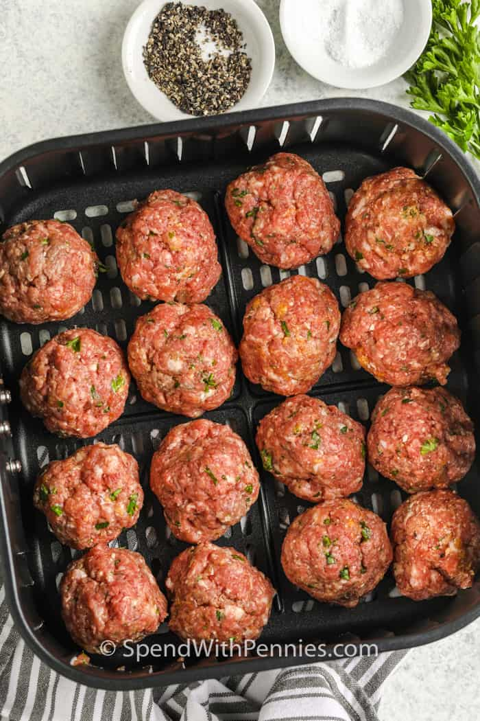 Air Fryer Meatballs in the air fryer before cooking