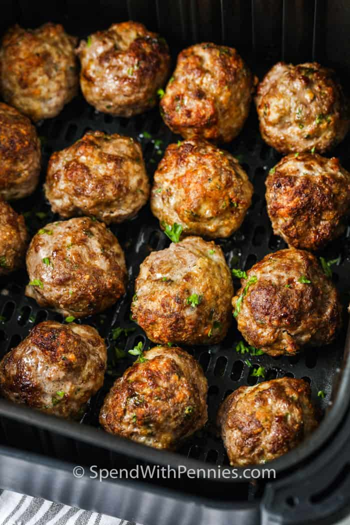 close up of cooked Air Fryer Meatballs in the air fryer