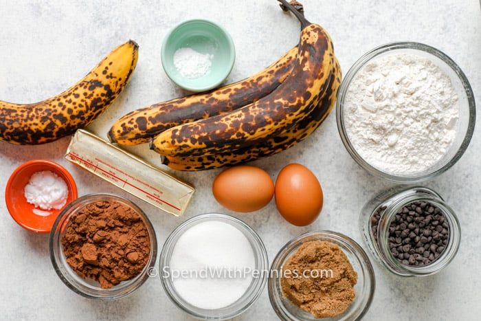 ingredients to make Chocolate Banana Snack Cake
