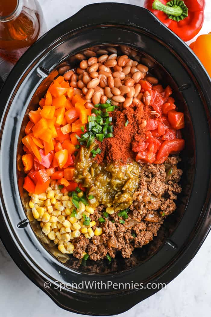 top view of ingredients in the crockpot to make Crock Pot Taco Soup