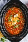 Crock Pot Taco Soup in the crockpot after cooking