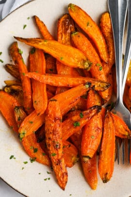 top view of Air Fryer Carrots on a plate with a fork