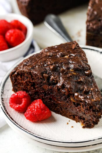 delicious slice of Chocolate Banana Snack Cake on a plate