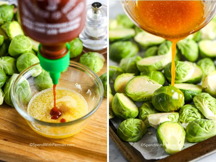 sauce for Sriracha Honey Brussels Sprouts in a bowl and being poured onto brussels sprouts