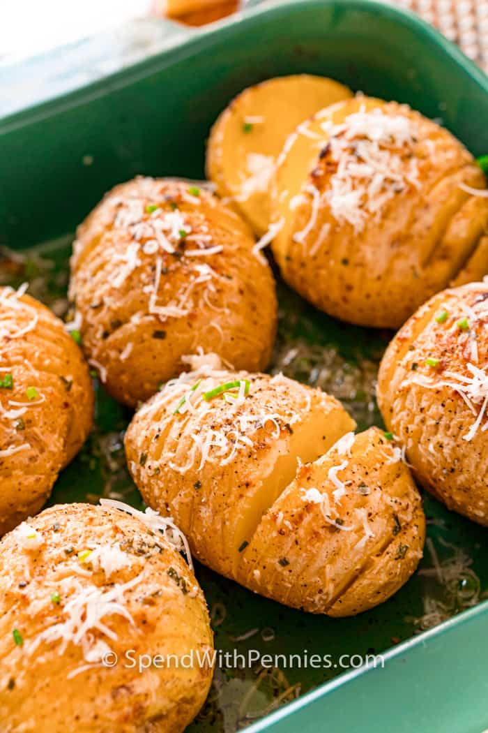 Hasselback Potatoes in a casserole dish