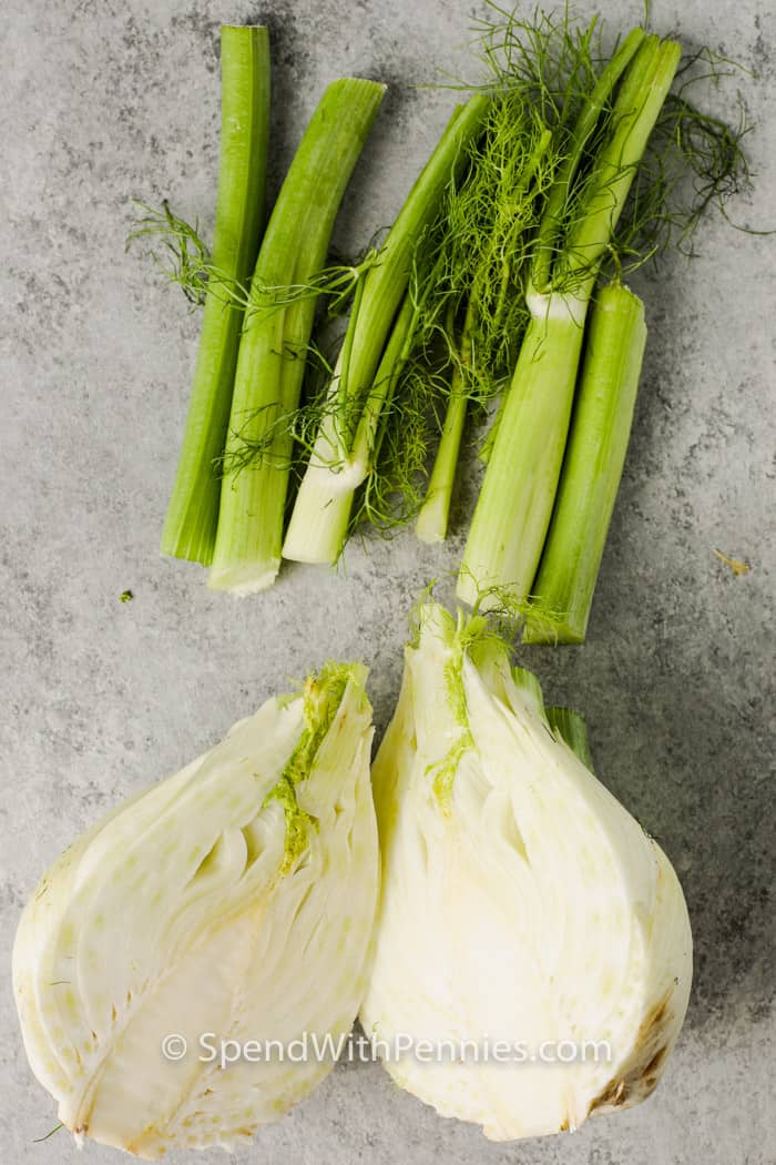 cut fennel on a table to show How to Cut Fennel