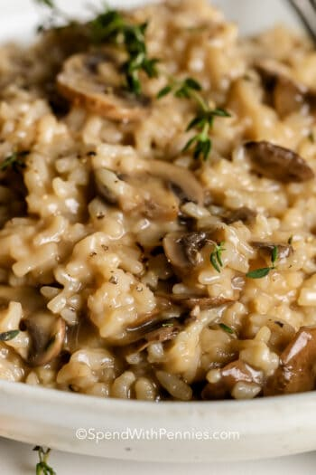 Instant Pot Mushroom Risotto in a white bowl