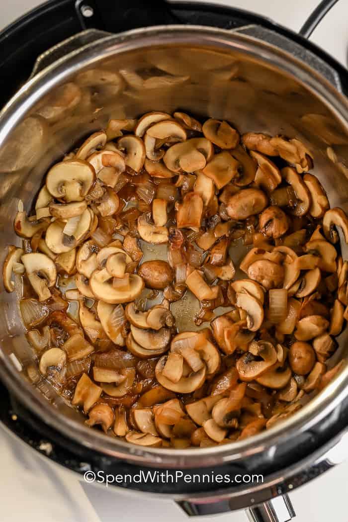 mushrooms in a pot for Instant Pot Mushroom Risotto
