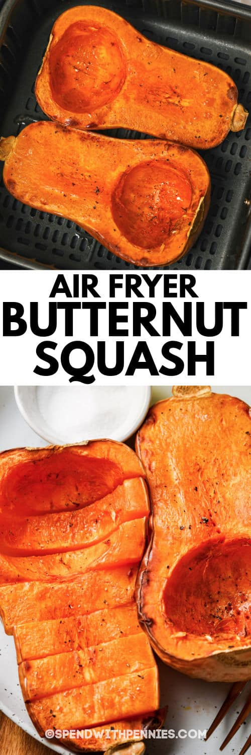 cooked Air Fryer Butternut Squash in the air fryer and plated with a title