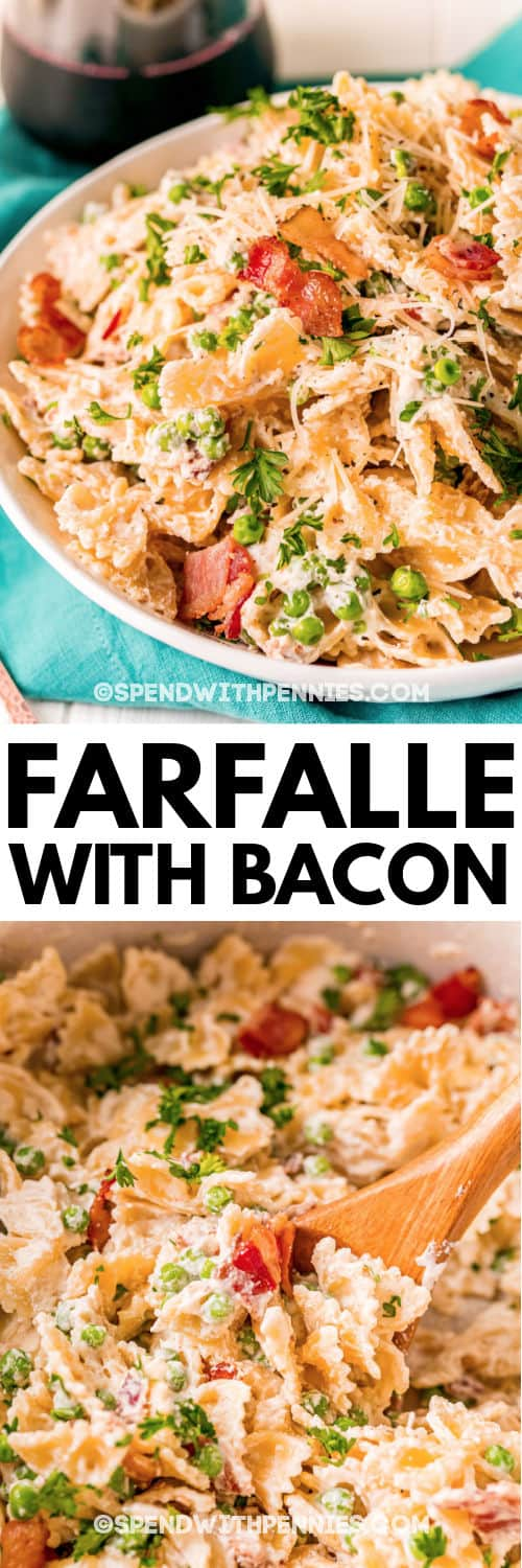 mixing Farfalle with Bacon in a bowl and plated dish with a title