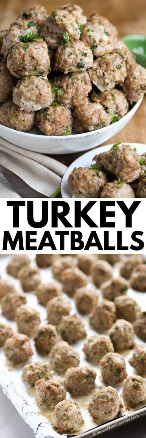Turkey Meatballs on a baking sheet and plated with a title