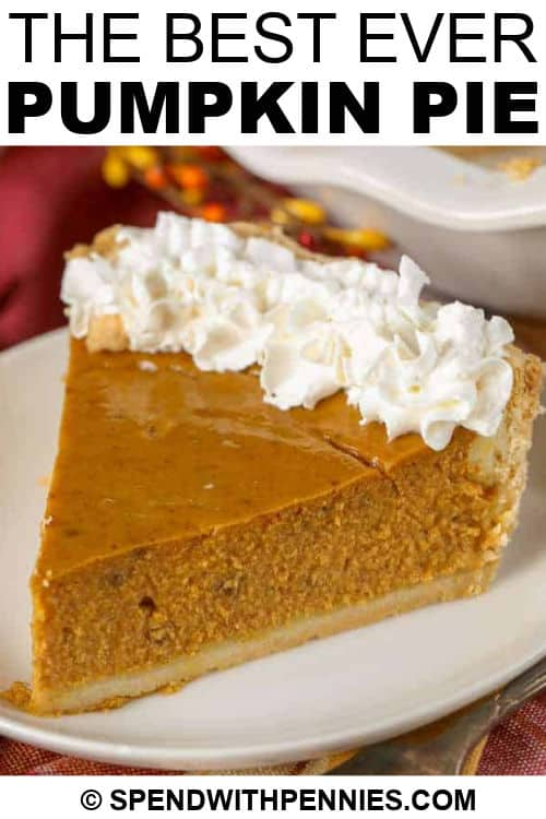 slice of Pumpkin Pie with writing