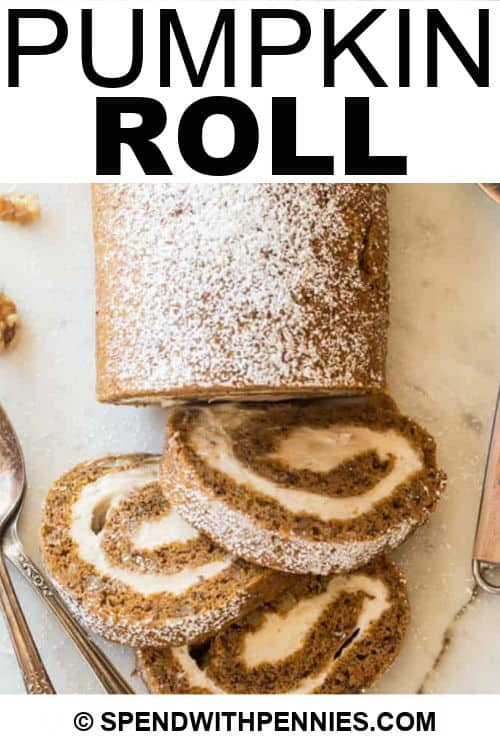 Pumpkin Roll slices with a title