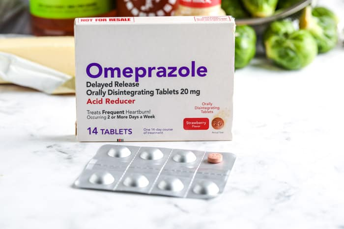 Omeprazole on a marble board for Sriracha Honey Brussels Sprouts