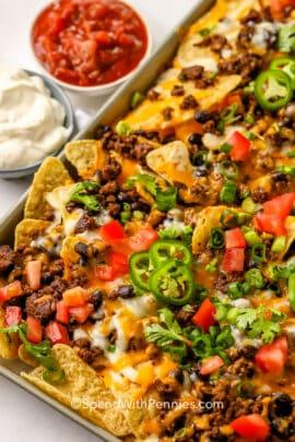 Nachos on a sheet pan