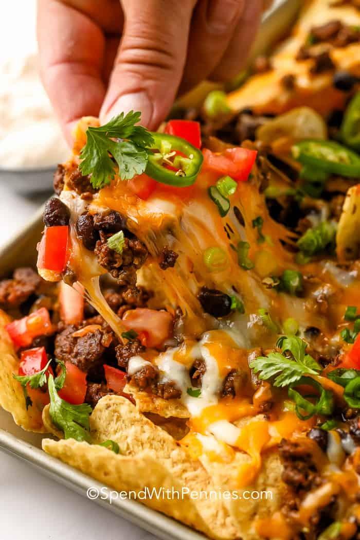 A tortilla chip being pulled from a tray full of nachos topped with ground beef, black beans, green onions, tomatoes, jalapenos and shredded cheese