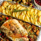 One Pan Turkey Dinner on a sheet of foil