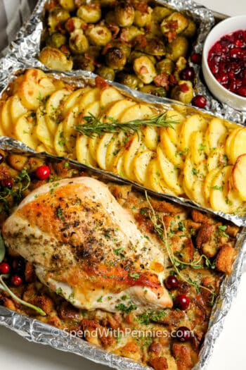 One Pan Turkey Dinner on a sheet of foil
