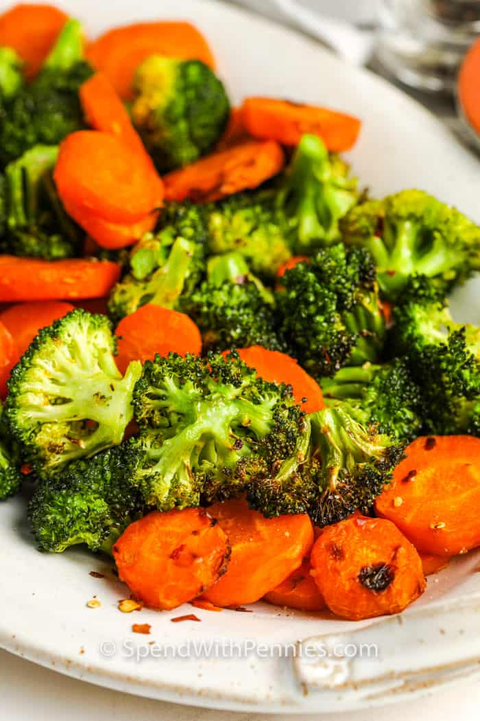 Roasted Broccoli and Carrots on a plate