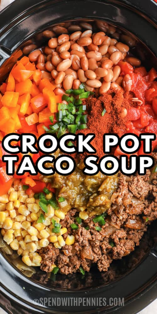 ingredients in the crockpot to make Crock Pot Taco Soup with a title