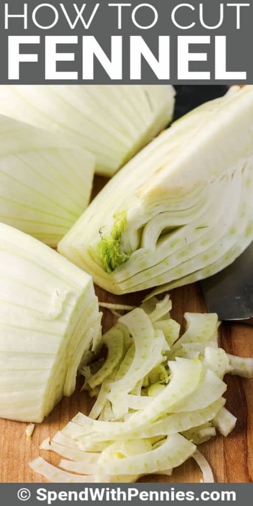slices of fennel to show How to Cut Fennel with writing