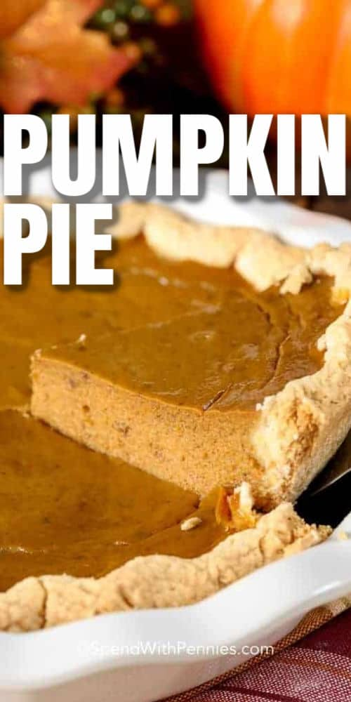 taking a slice out of a Pumpkin Pie with a title