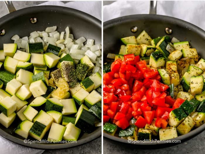 steps for making sauteed zucchini in a frying pan