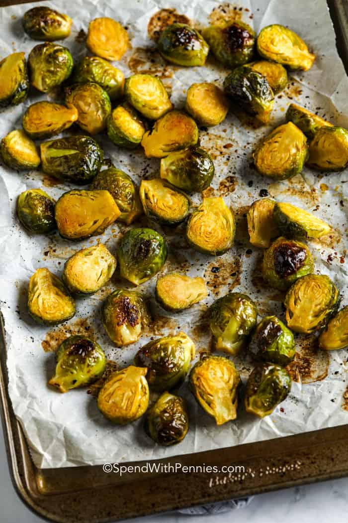 Sriracha Honey Brussels Sprouts on a baking sheet