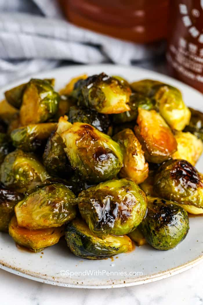 Sriracha Honey Brussels Sprouts on a plate