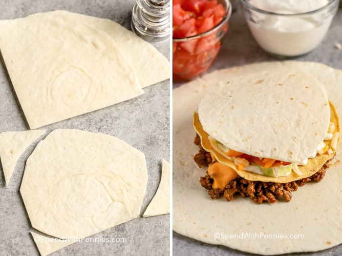 Cut tortilla on a counter and stacked on meat and lettuce