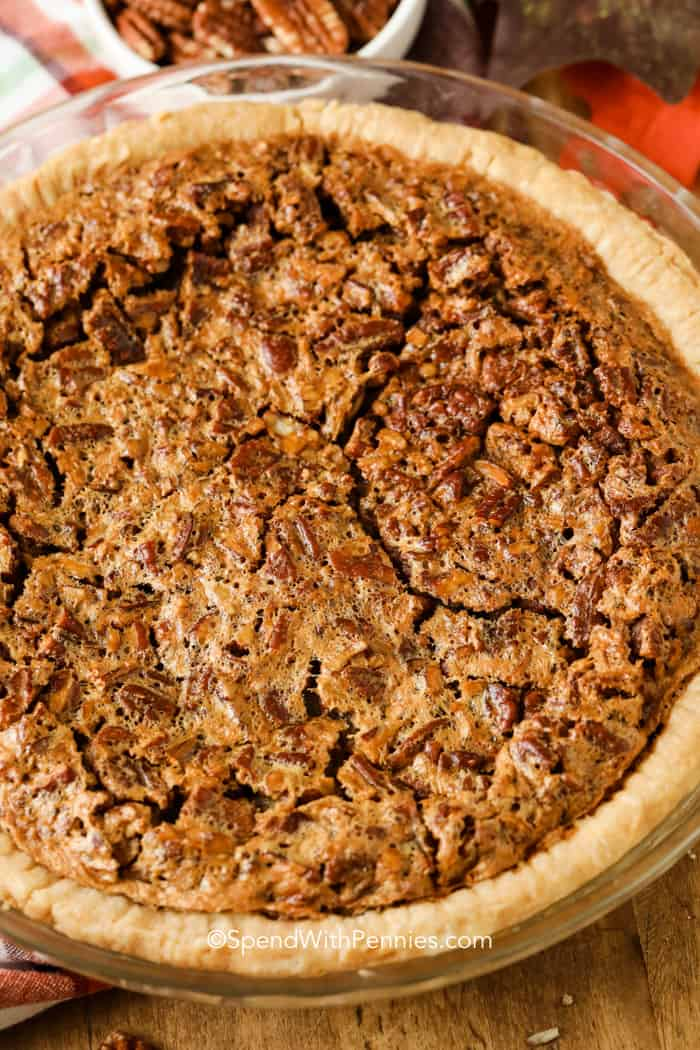 A whole baked pecan pie