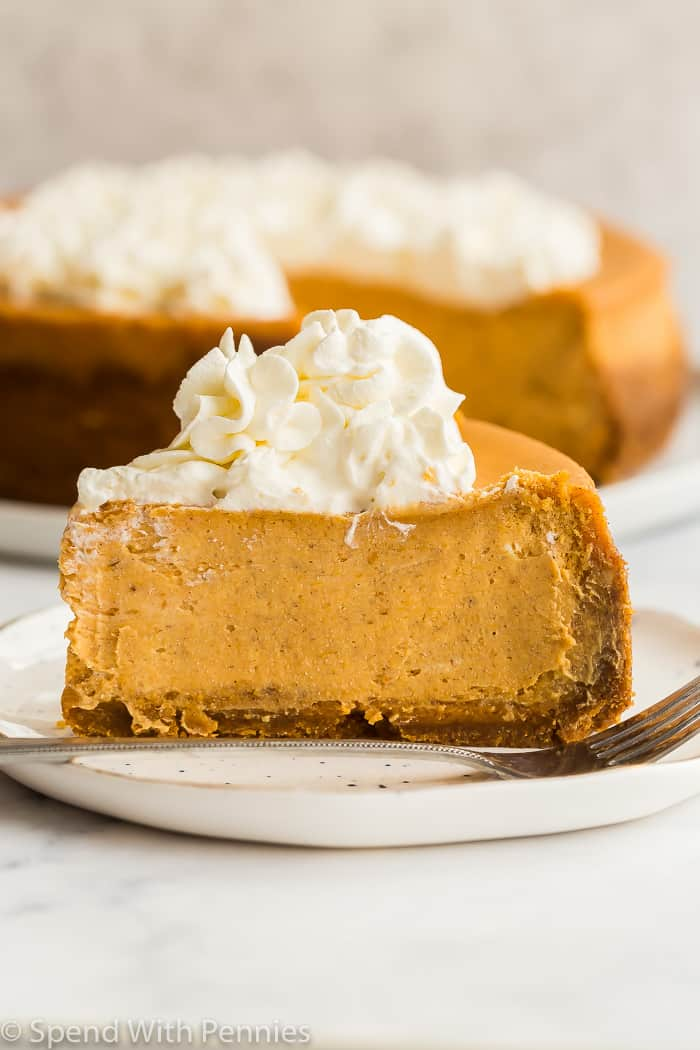slice of pumpkin cheesecake from the side