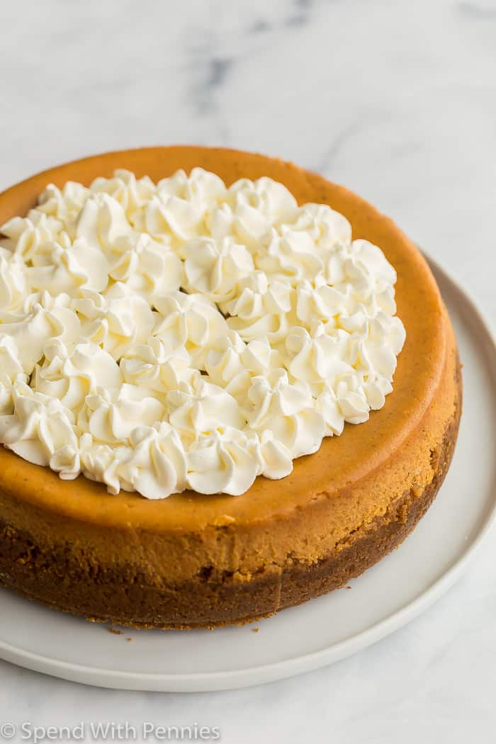 whole pumpkin cheesecake on white plate with whipped cream