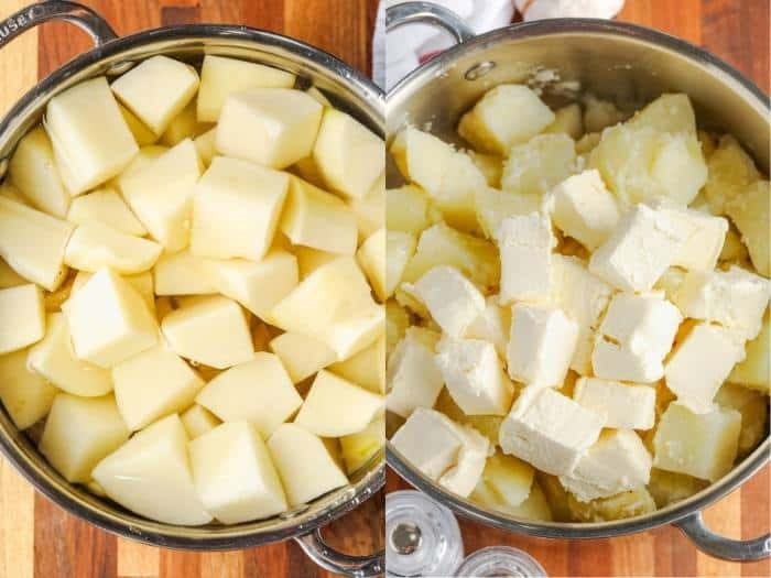 process of adding ingredients to make Cream Cheese Mashed Potatoes
