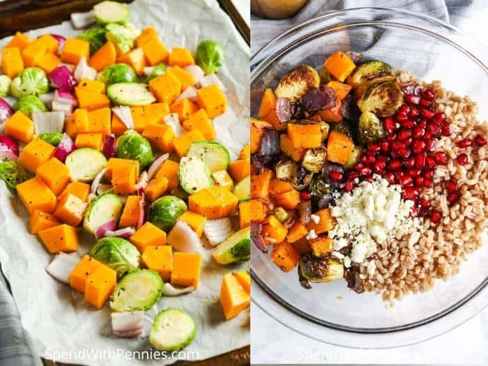 process of adding vegetables and to make a Harvest Farro Salad