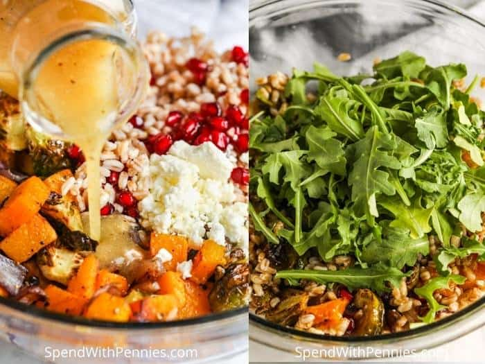 process of adding final ingredients to make Harvest Farro Salad
