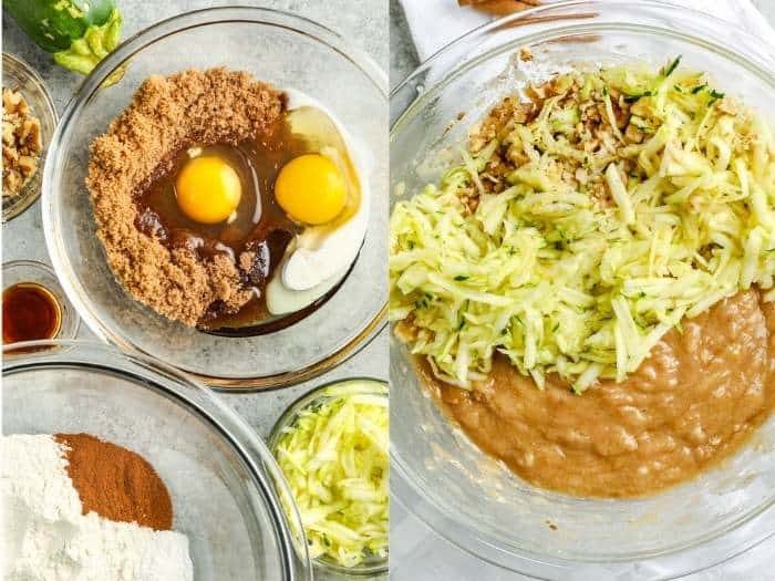 process of adding ingredients to bowl to make Zucchini Chocolate Chip Muffins