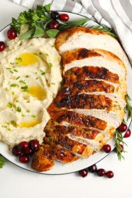 A plate of sliced air fryer turkey breast